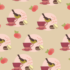 Seamless wallpaper with bird on a cup
