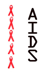 Aids awareness red ribbons isolated on white