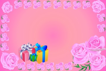 greeting card, gift, roses