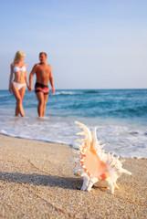 loving couple walking at sand beach against big seashell