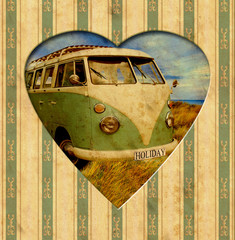 Foto op Canvas Vintage Poster Vintage Heart - Holiday