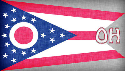 Linen flag of the US state of Ohio