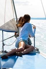 People at a sailboat vacation