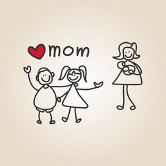 hand drawing cartoon happy mother's day