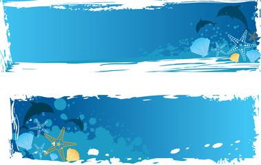 Blue grunge sea banner