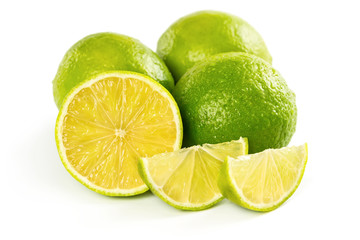 Fresh ripe limes isolated