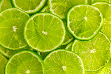 Green background with  lime slices