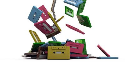 cassette tapes falling