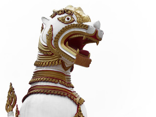 Singha is white lion guardians in temple on white background