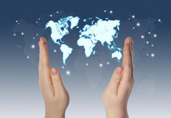 Poster Carte du monde World in hands