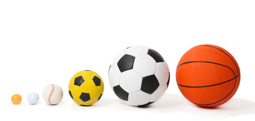 Different balls, isolated on white