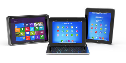 Set of Tablet PCs and keyboard isolated