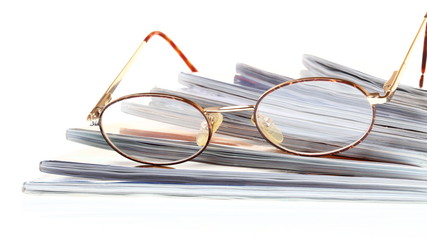 glasses eBook reader isolated on white