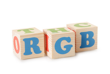 RGB word from wooden cubes