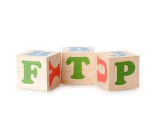 FTP word from wooden cubes