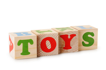 Toys word from wooden cubes