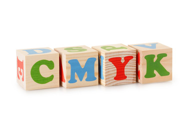 CMYK word from wooden cubes