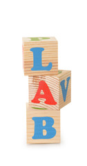 LAB word from wooden cubes