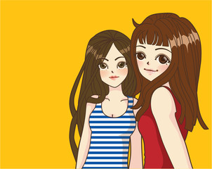 Fashion Girl in Cartoon Style Vector File EPS10