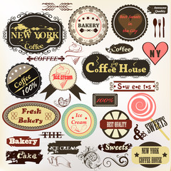Collection of old styled badges or labels coffee house, bakery a