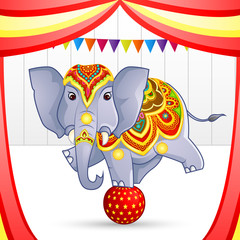 vector illustration of elephant in Circus playing with ball