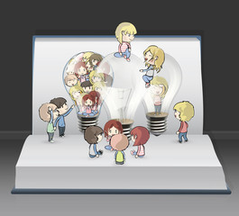 Several kids around bulb inside a book.