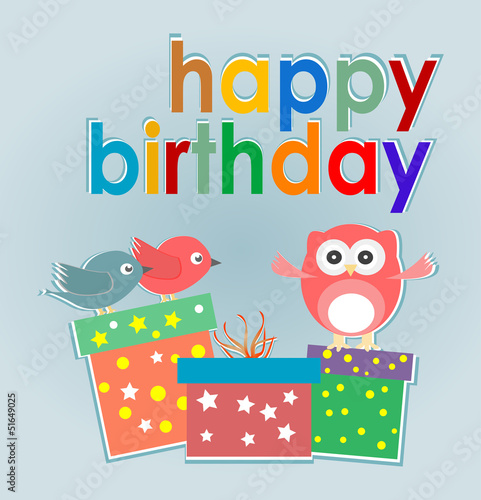 Birthday Party Card With Cute Owl Birds And Gift Boxes Stock Photo