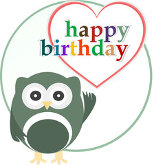 happy birthday party card with cute owl