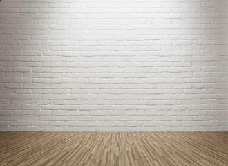 Spot lit empty room with brick wall and copy space