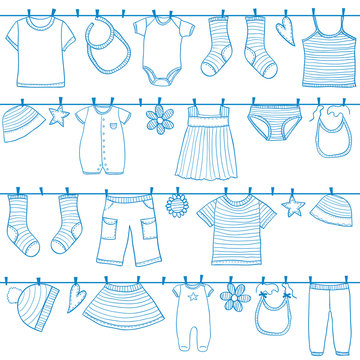 Children clothes on clothesline
