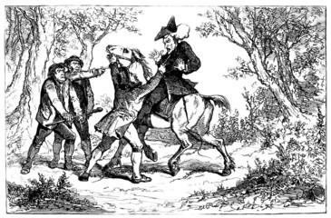 Caricature : Bandits & Traveler - 18th century