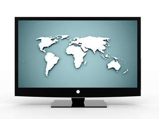 3D monitor with world map