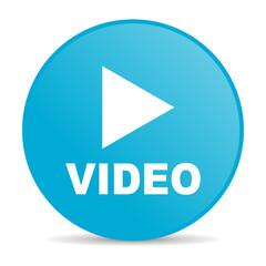 video blue circle web glossy icon