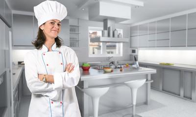 Female cook in kitchen