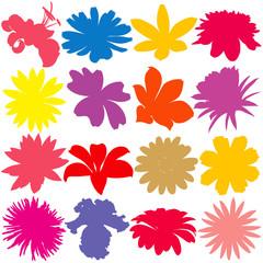 Flower silhouette set