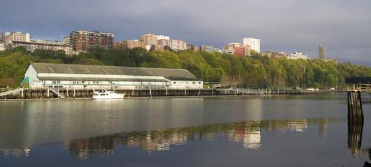 Thea Foss Waterway Waterfront Ridge of Buildings North Tacoma Wa