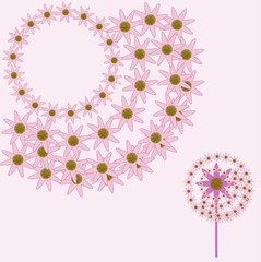 Hot Pink Flower Design Elements