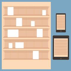book shelf, apps store vector