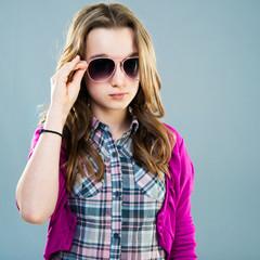 little fashion model in sunglasses