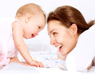 Wall Mural - Mother and Baby. Happy Family