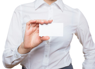 Woman Hand with blank visiting card