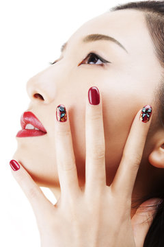 Asian model profile with professional make up and nailart