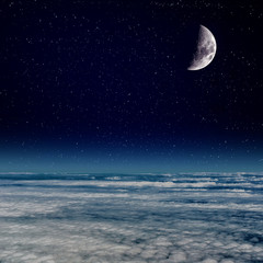 Moon above the Clouds