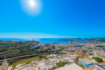 Greece Siros, panoramic view of rooftops of traditional Greek ho