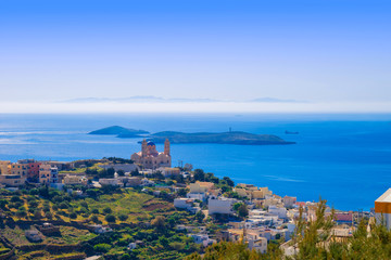 Greece Siros, wide view of main Capitol of Siros which is also c