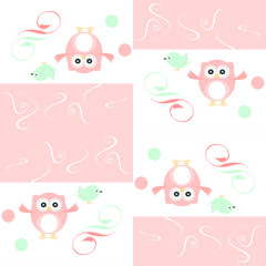 Seamless colourfull owl and birds pattern for kids in vector