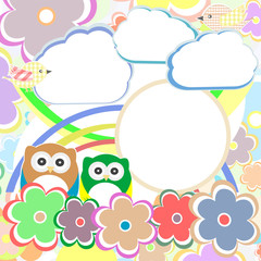 Background with owl, flowers and clouds