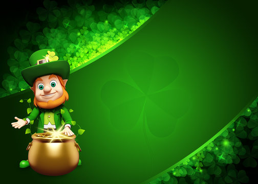 Leprechaun for st patrick's day with big golden pot