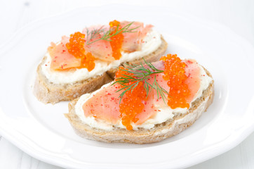 sandwich with cream cheese, salted salmon, red caviar on a plate