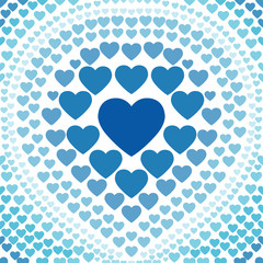 seamless blue heart abstract background vector